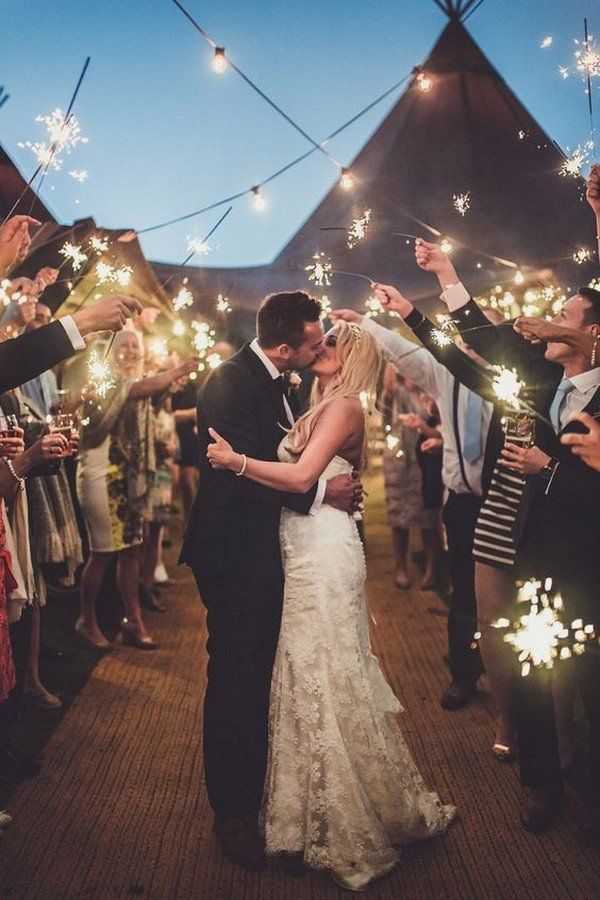 end of wedding night photo with sparklers