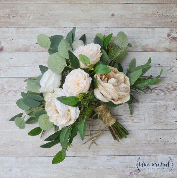 eucalyptus and peony neutral wedding bouquet ideas