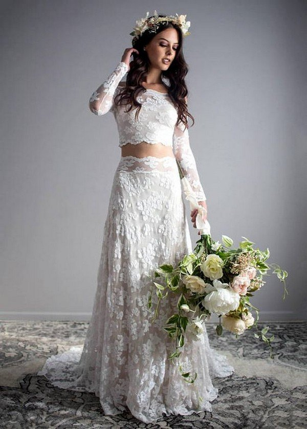 gorgeous two piece lace wedding dress with long sleeves