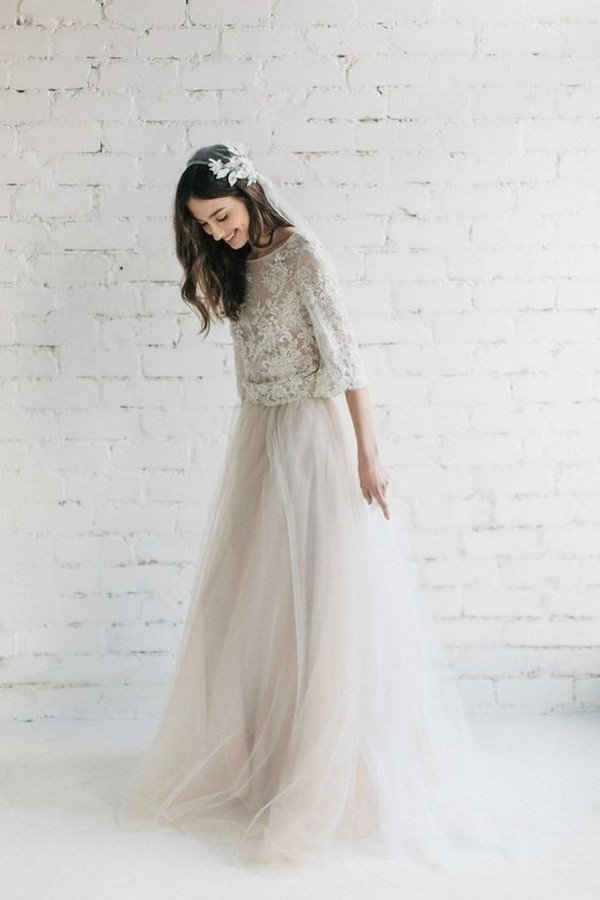 lace top and tulle skirt two piece wedding dress