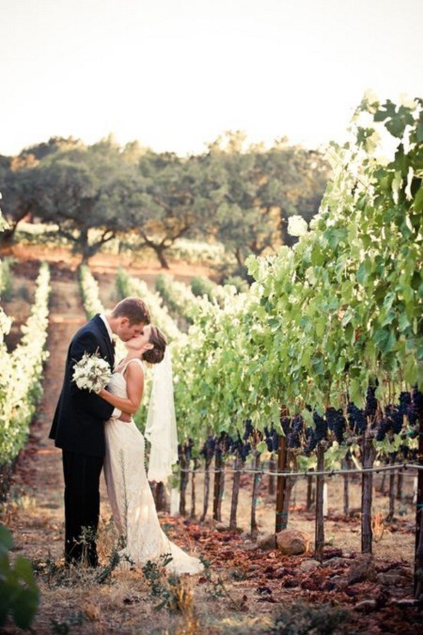 romantic wedding photo ideas in the vineyard
