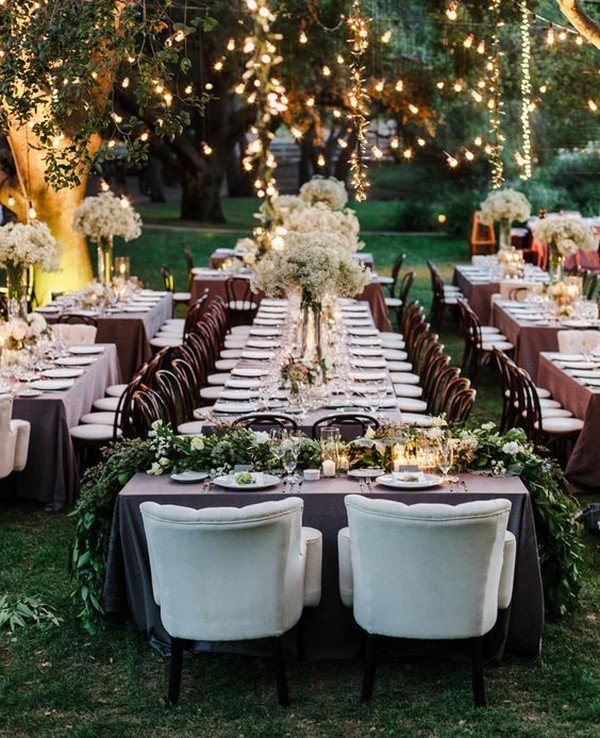 rustic wedding reception ideas with vineyard and string lights