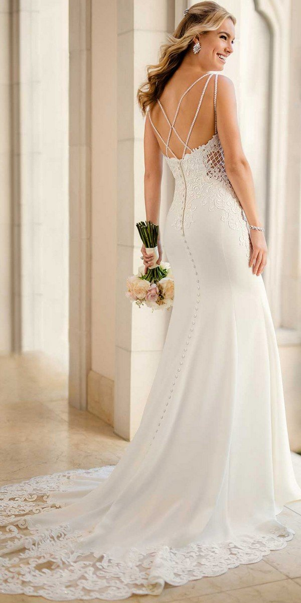 stella york vintage wedding dress with open back 2018 collection