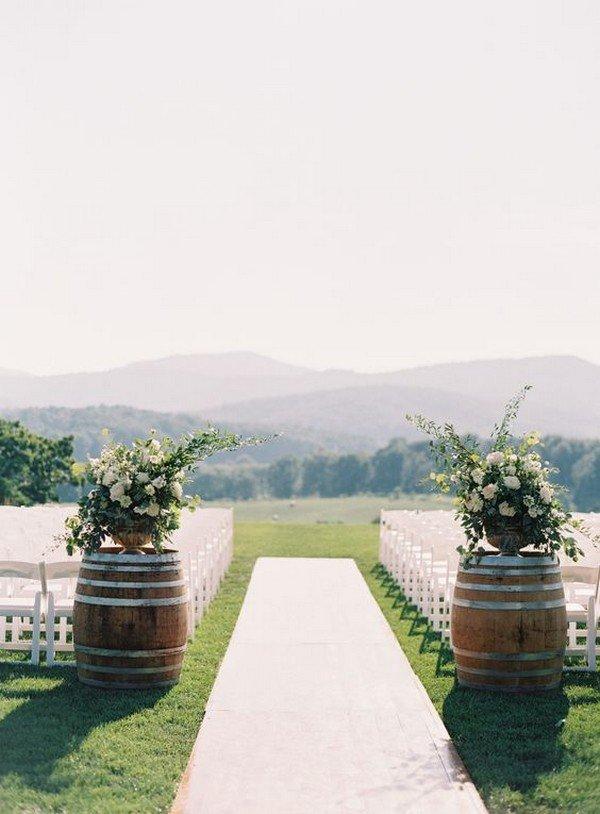 wedding aisle decoration ideas with wine barrels