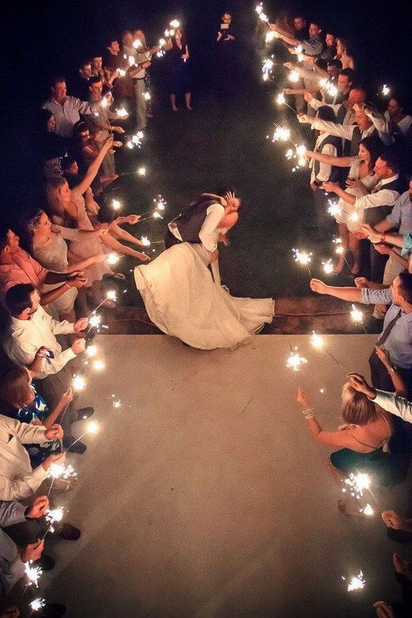 wedding photo ideas with sparklers send off