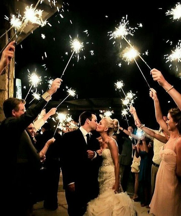 wedding photo with sparklers send off