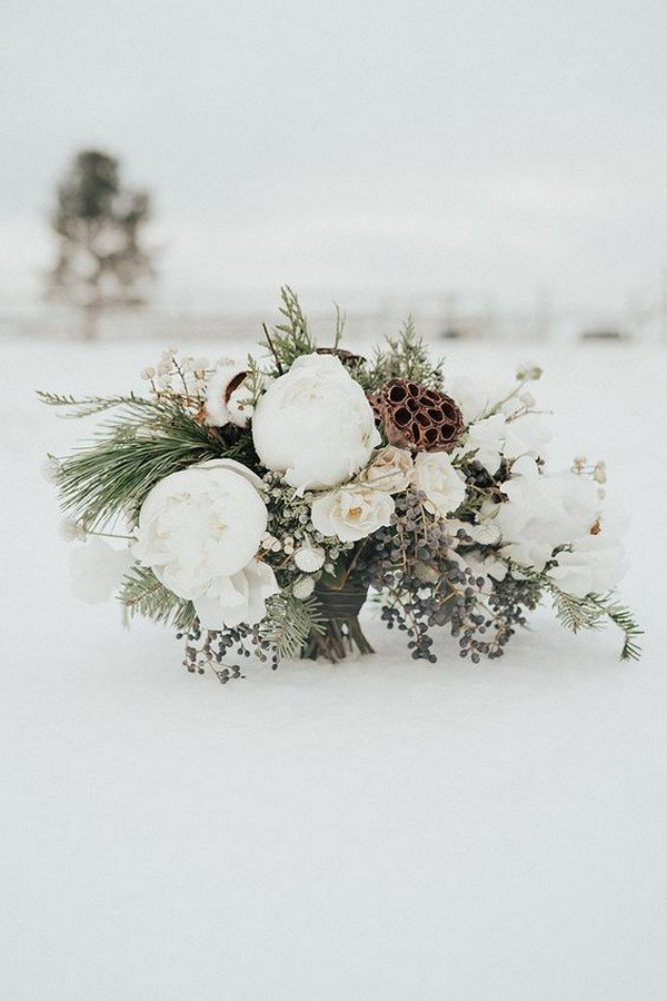 winter wedding bouquet with neutral colors