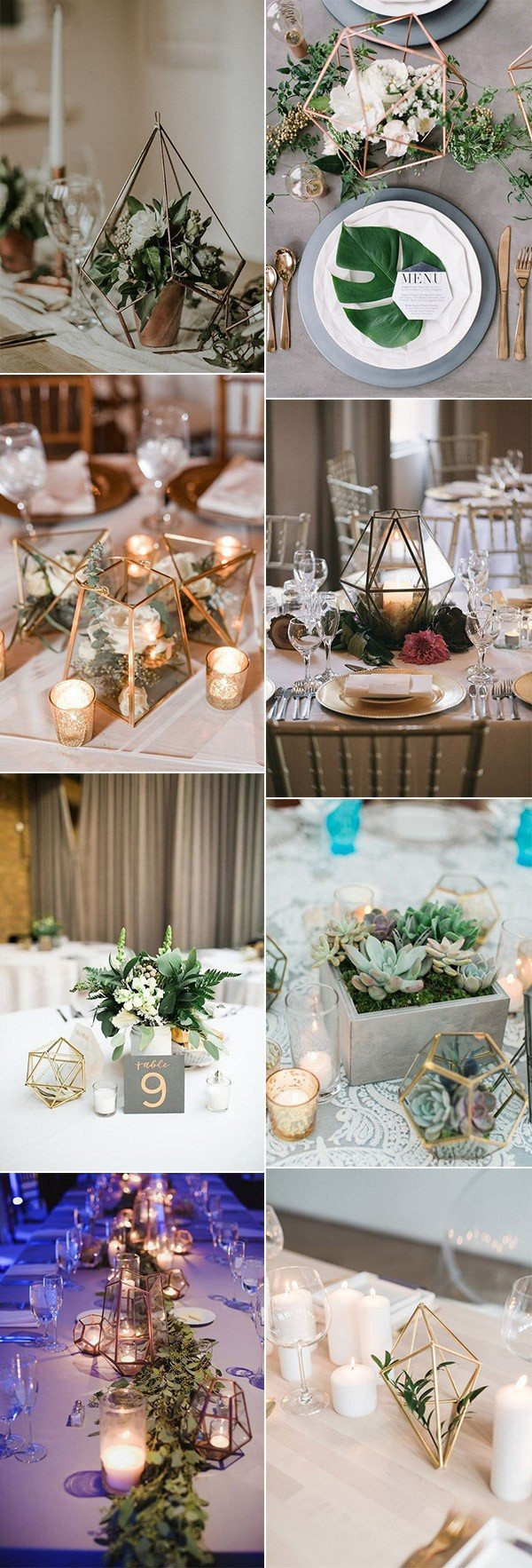chic geometric wedding centerpiece ideas for 2018 trends