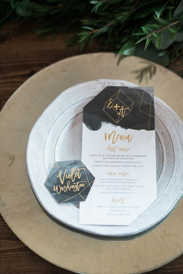 chic geometric wedding invitations