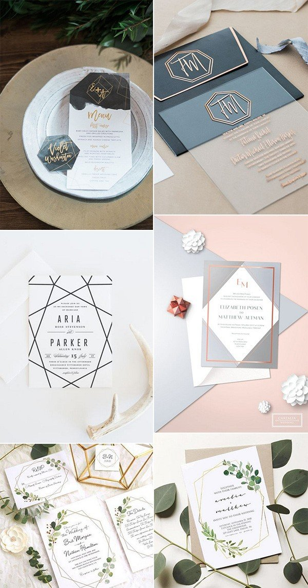 creative geometric trending wedding invitations