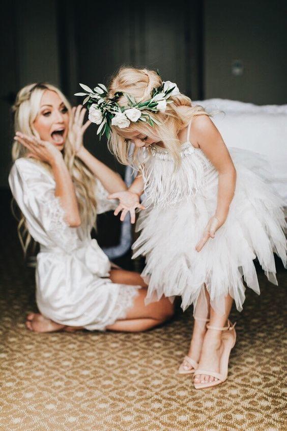 cute feather flower girl dress