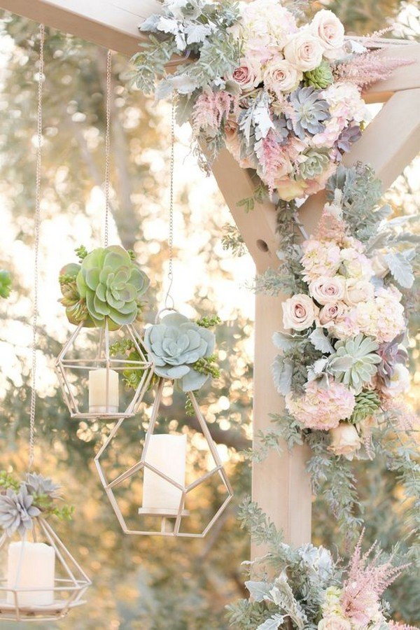 hanging geometric candle holders for wedding decoration