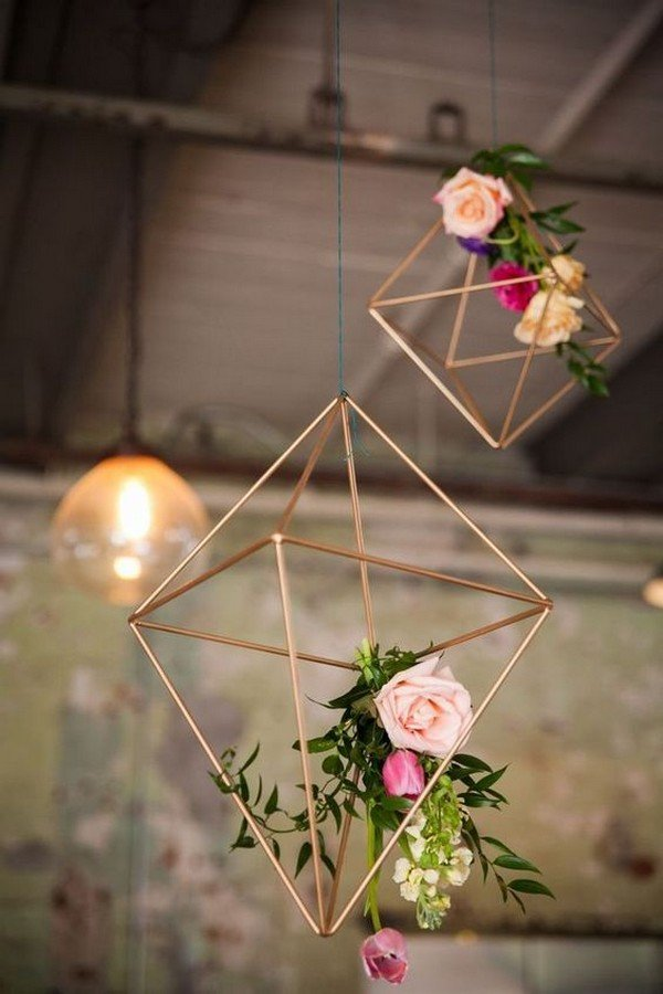 industrial geometric hanging wedding decorations