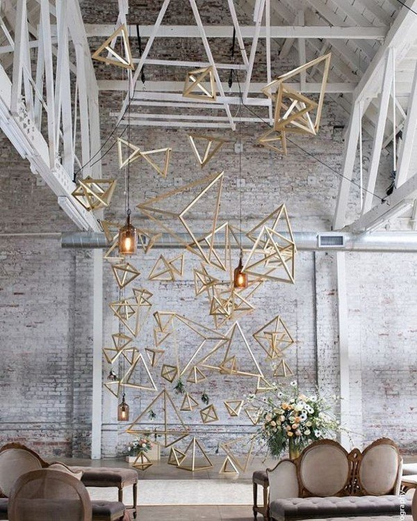 industrial themed geometric wedding backdrop ideas
