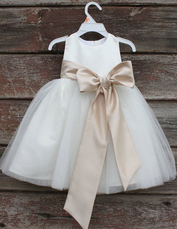 ivory and champagne flower girl cut dresses