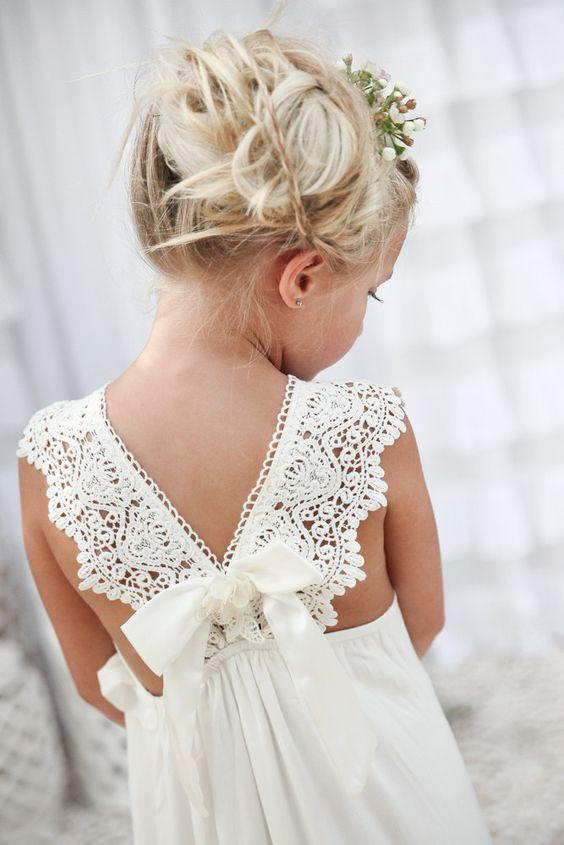 ivory white lace flower girl dress