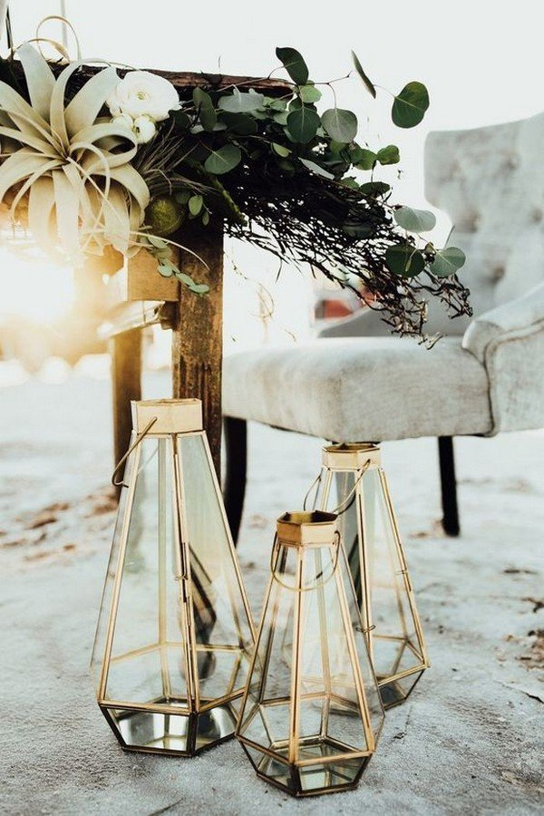 metallic geometric lanterns wedding decorations