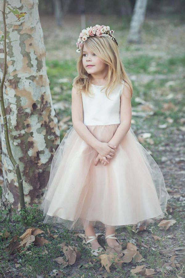 satin and tulle flower girl dress