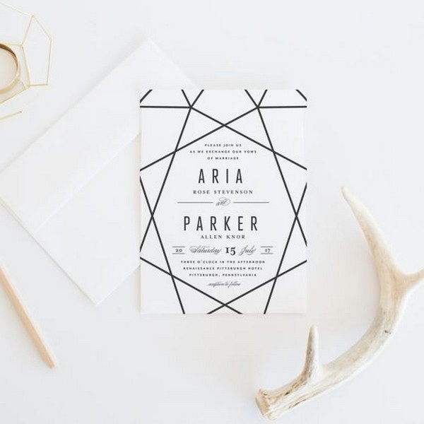 simple chic black and white geometric wedding invitations