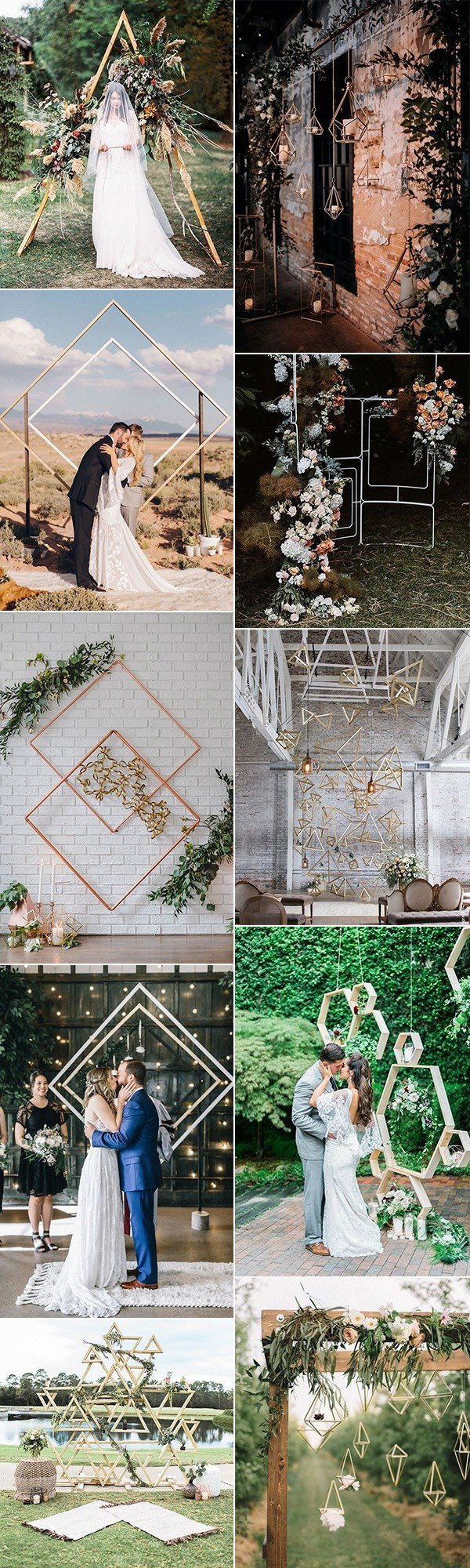 trending geometric wedding backdrop decoration ideas