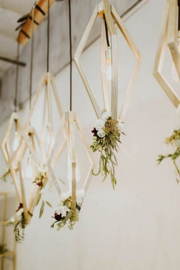 wooden geometric floral hanging wedding decorations