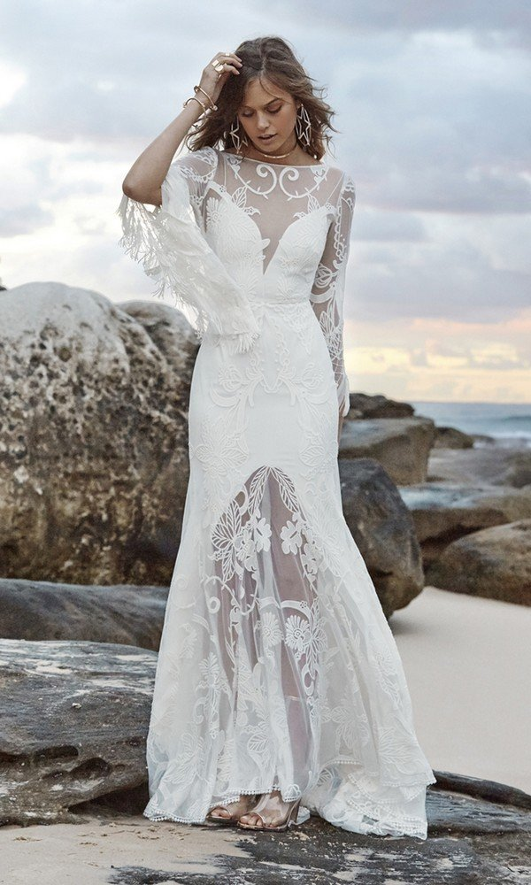 Bohemian wedding dress with long sleeves Adelia Lune from Rue De Seine front view