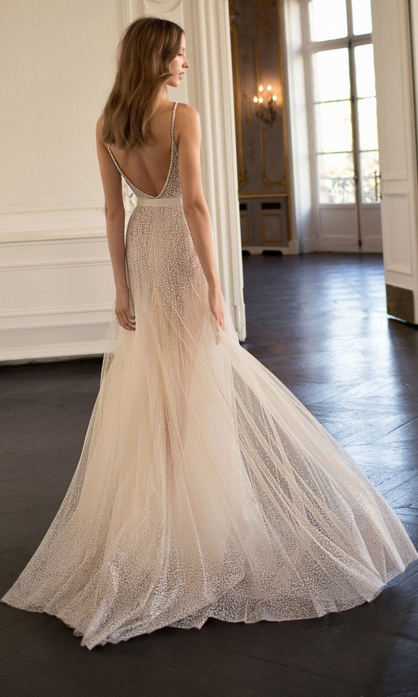 Eisen Stein Alisson beaded deep v neck wedding dress with open back