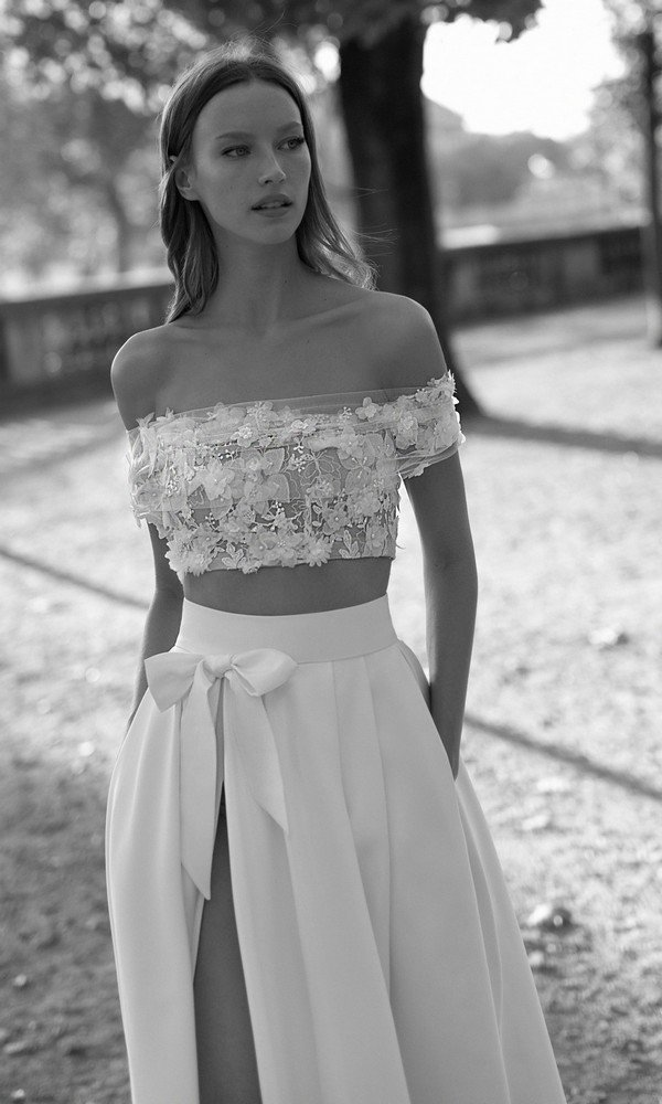 Eisen Stein Charlotte off the shoulder two pieces floral wedding dress 2018