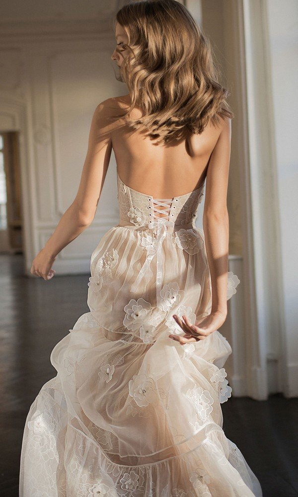 Eisen Stein Eve floral strapless wedding dresses back view