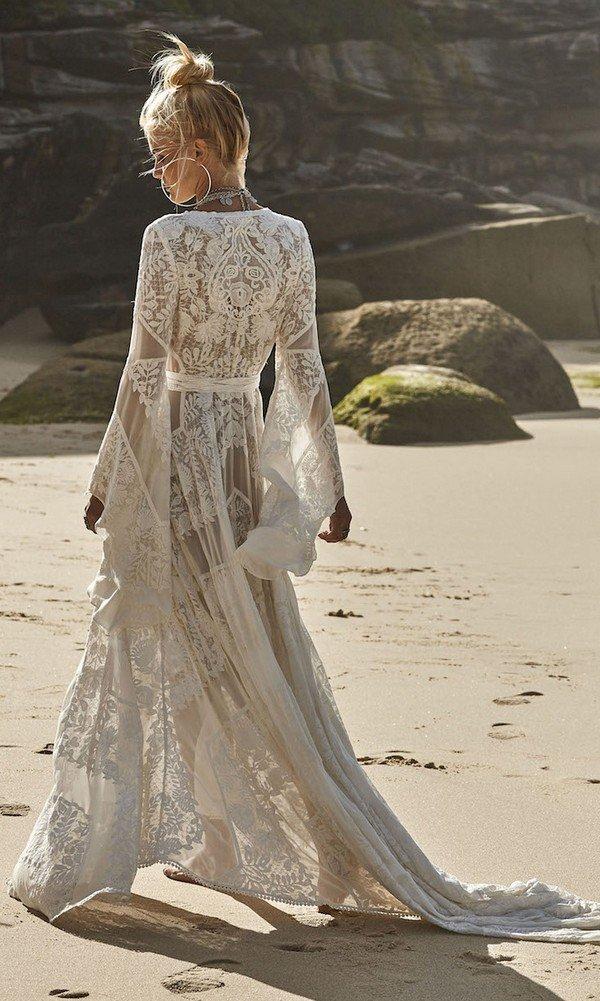 Wild Harlow v neck boho lace wedding dress back details from Rue De Seine