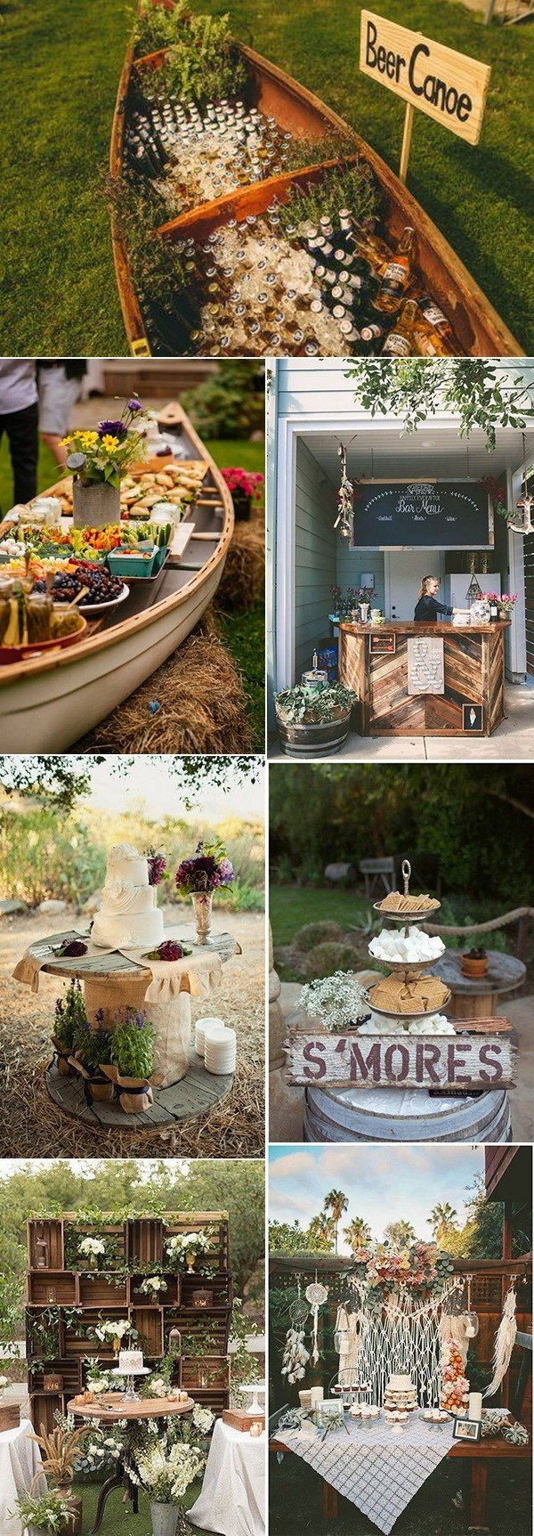 boho chic outdoor wedding food and drink station ideas
