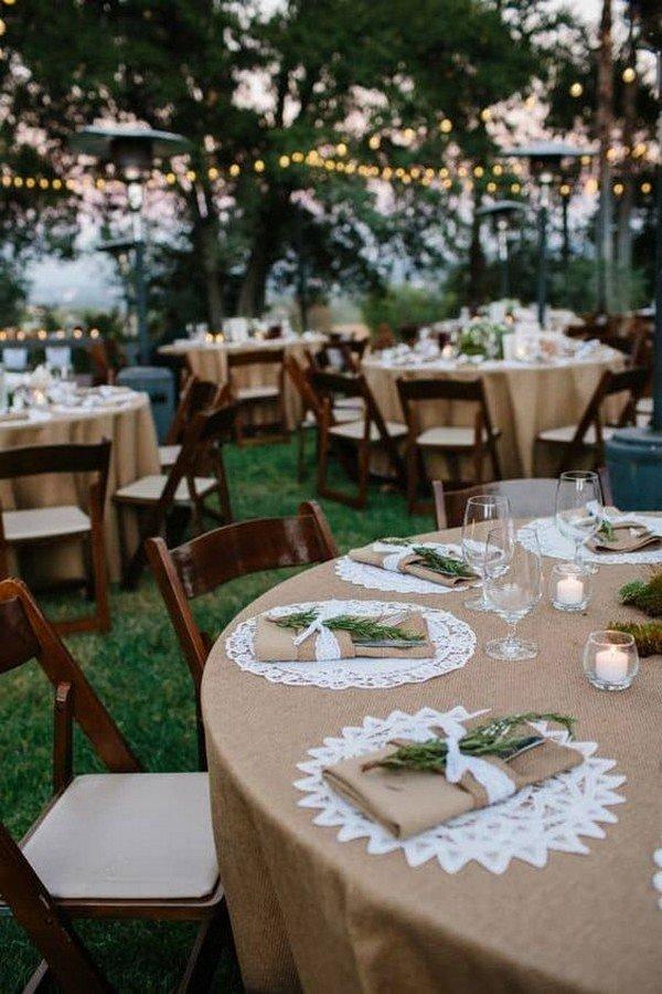 boho lace and burlap wedding table setting ideas