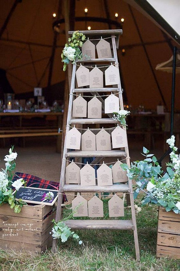 chic outdoor wedding seating chart ideas