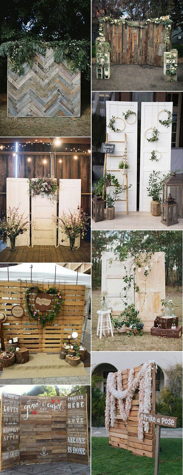 chic rustic wooden wedding photobooth backdrop ideas for 2018