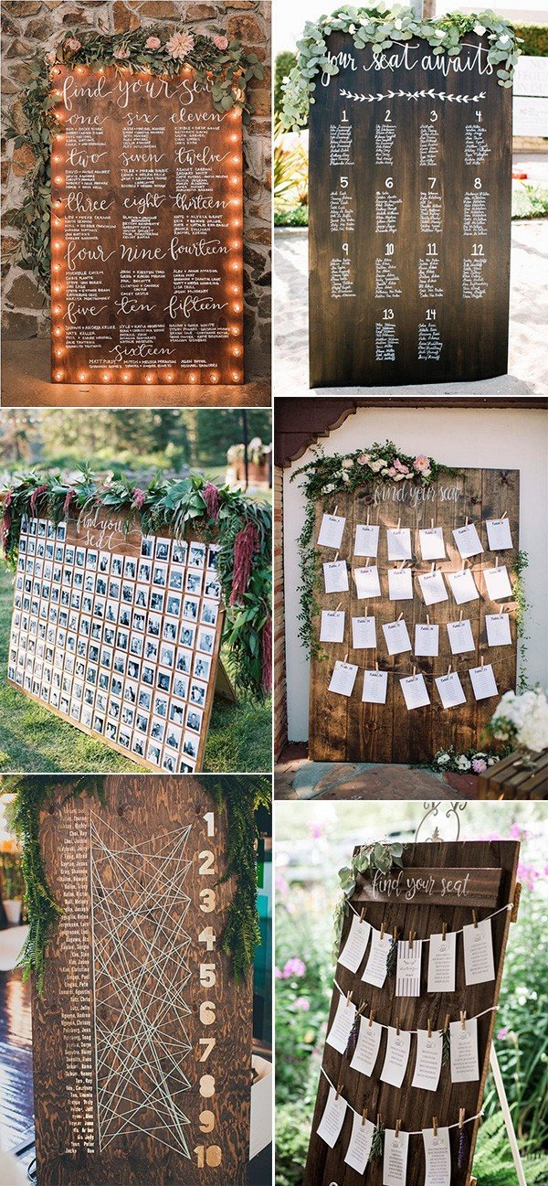 chic rustic wooden wedding seating chart ideas