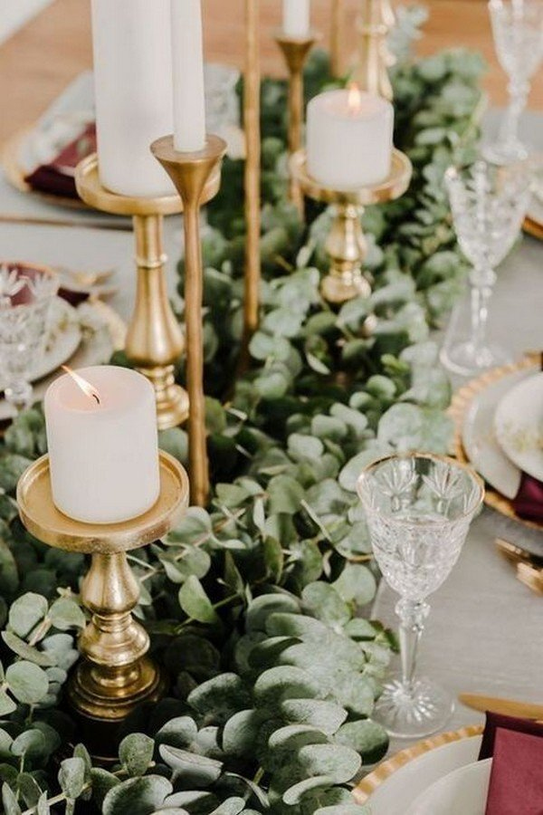 gold and green wedding centerpiece ideas