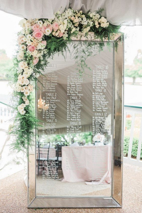 mirror wedding seating chart ideas with floral decorated