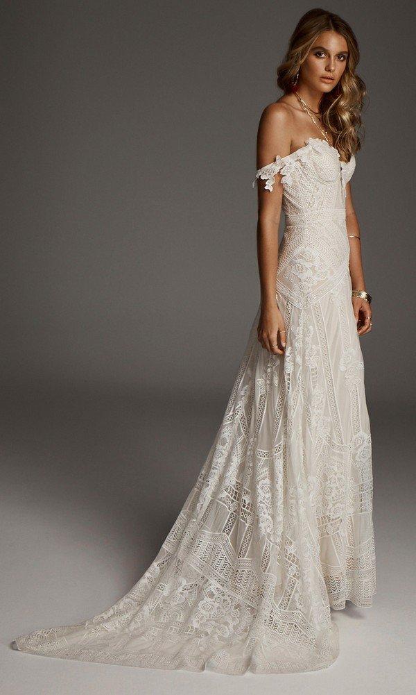 off the shoulder lace wedding dress Fox from Rue De Seine