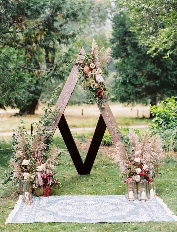 outdoor boho chic wedding arch ideas