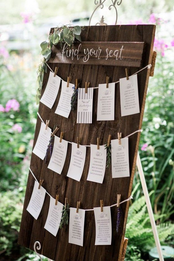 simple rustic wooden wedding seating plan decoration ideas