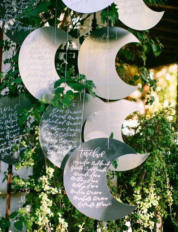 unique metal crescent moon wedding seating chart ideas