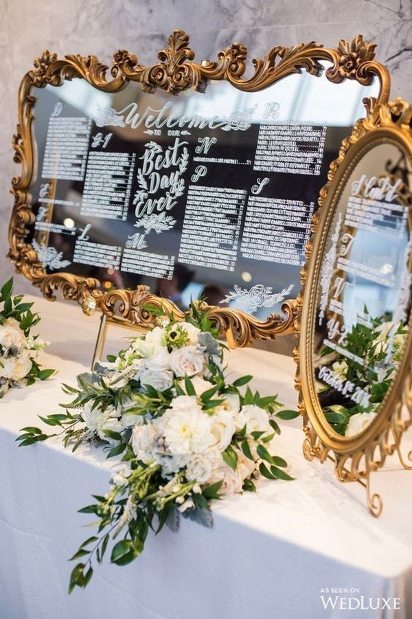 vintage gold baroque mirror wedding seating chart ideas