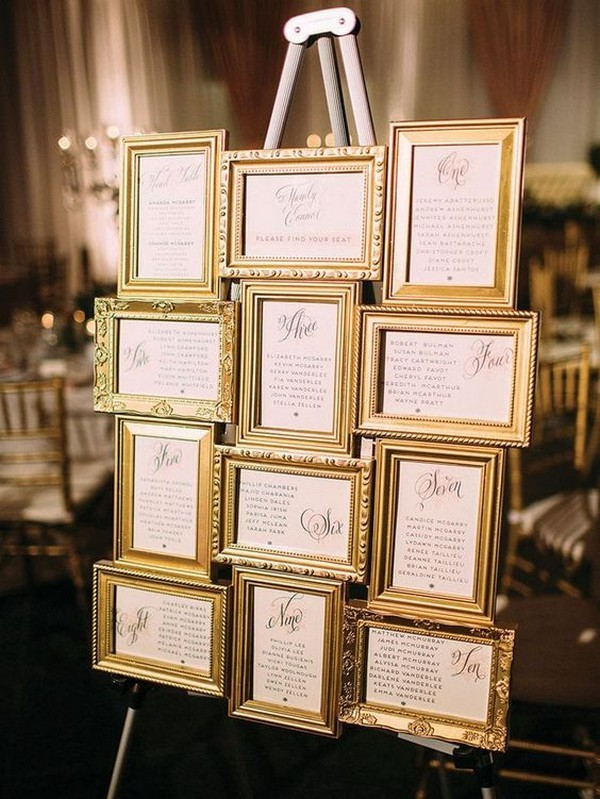 vintage gold frame wedding seating chart decoration ideas