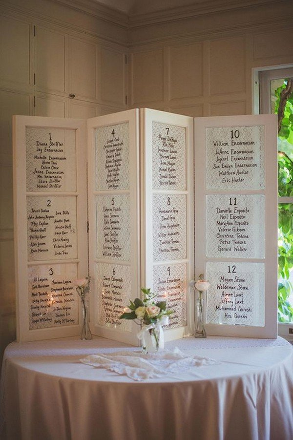 vintage old window wedding seating chart ideas