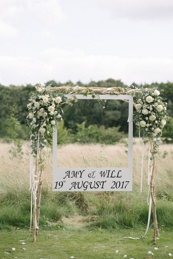 white and greenery wedding photobooth decoration ideas