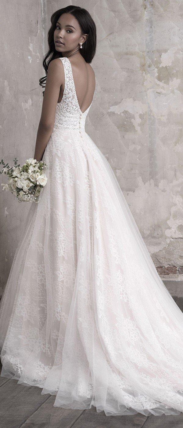 Madison James A line v neck wedding dress back view