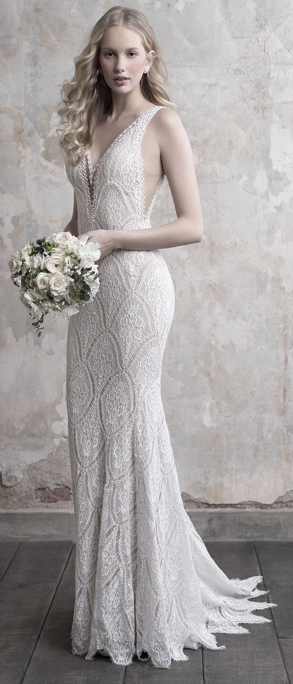 Madison James V neck lace wedding dress fall 2018 collection