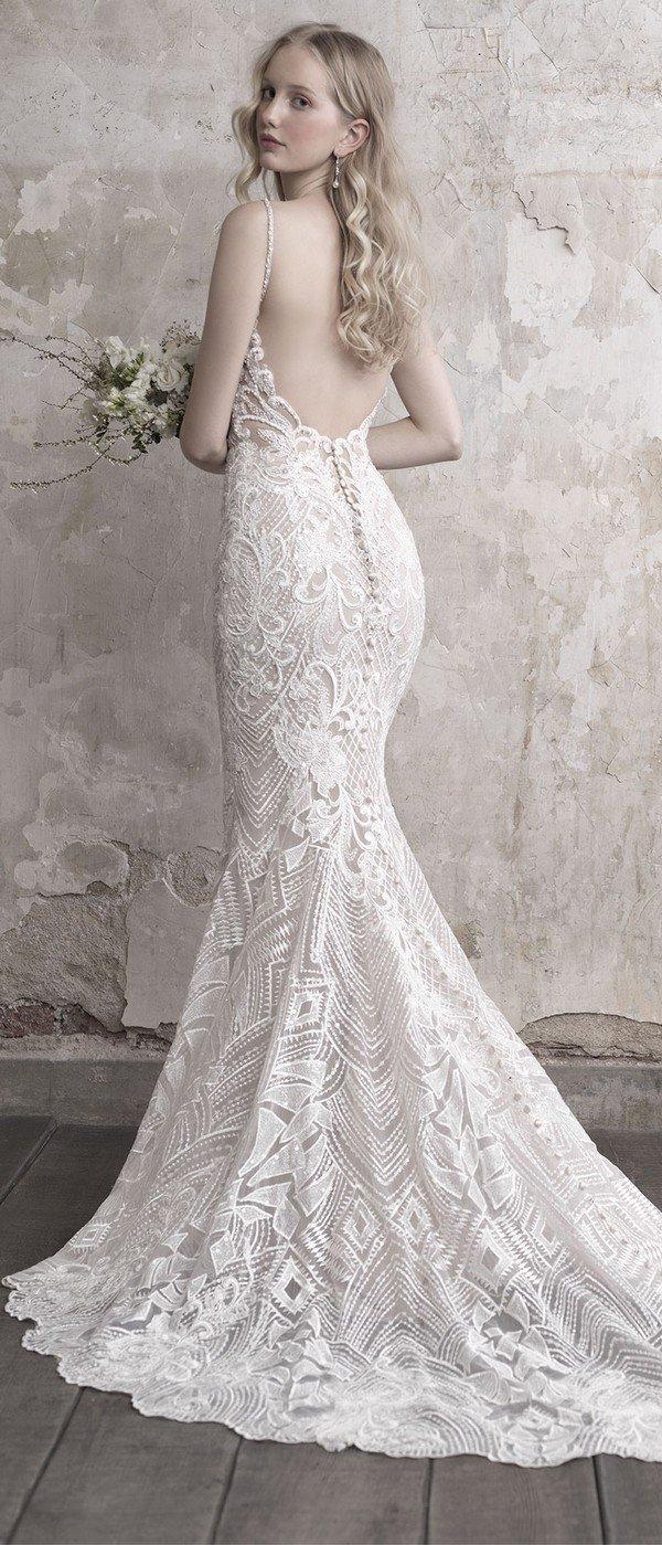 Madison James beaded v neck shealth wedding dress with low back