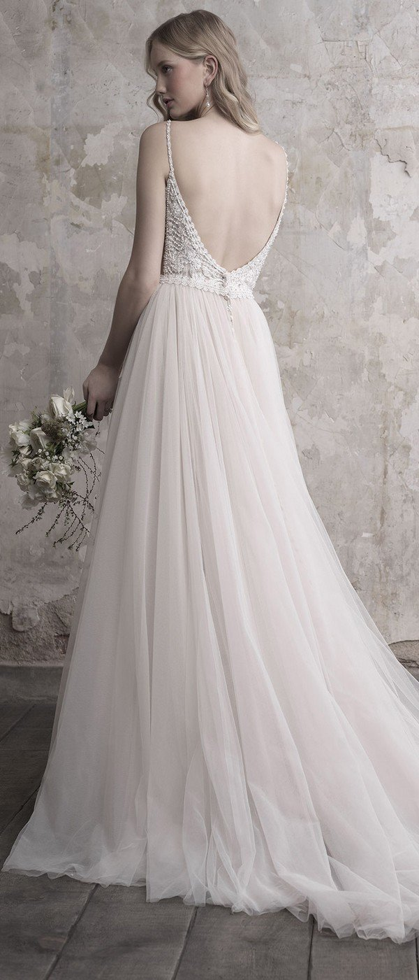 Madison James deep v neck a line tulle wedding gown with low back