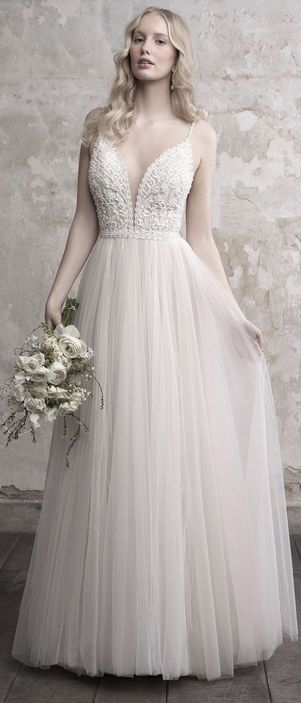 Madison James deep v neck a line tulle wedding gown